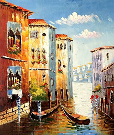 Amazon.com: Blingbling Art Oil Painting Landscape the Venice Wall ...