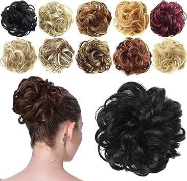 Feshfen Postiche Chignon Extensions De Cheveux Boucles Ondules Chouchou Postiche Queue De Cheval Resistant A La Chaleur Amazon Fr Beaute Et Parfum
