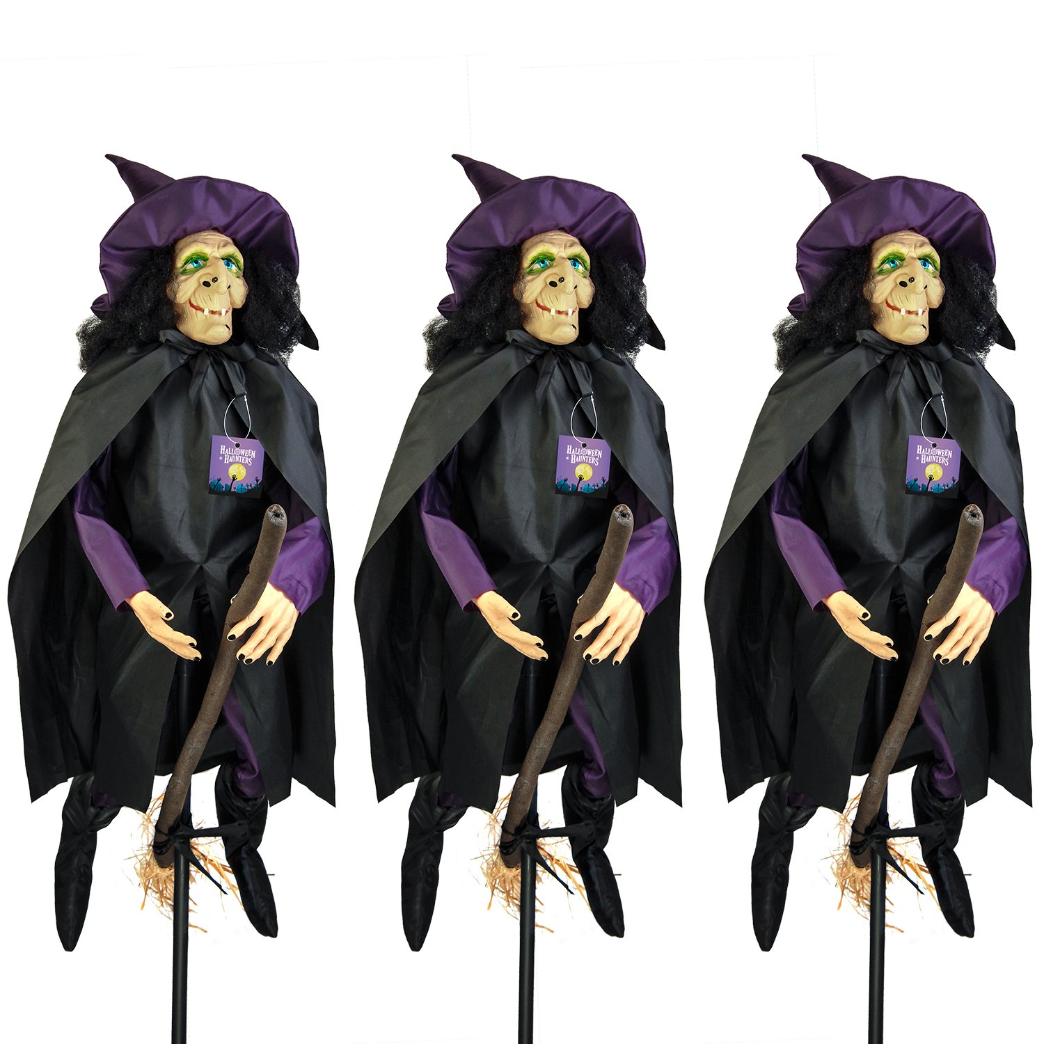 Halloween Haunters 31'' Standing Flying Witch Prop Decoration - Purple, Broomstick (Pack of 3 Witches)
