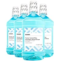 Amazon Brand - Solimo Tartar Control Plus Antiseptic Mouth Rinse, Iceberg Blue Mint, 1.5 Liters, 50.7 Fluid Ounces, Pack of 4