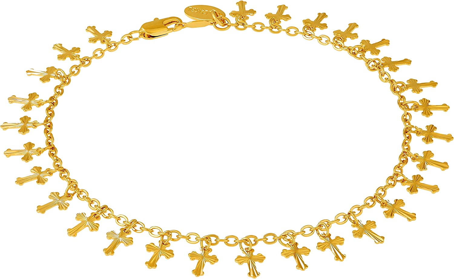 Lifetime Jewelry Gold Ankle Bracelets for Women Teens and Girls [ 24k Plated Dangling Crosses Anklet ] Durable Ankle Bracelet - Cute Foot Jewelry 9 10 11 inch