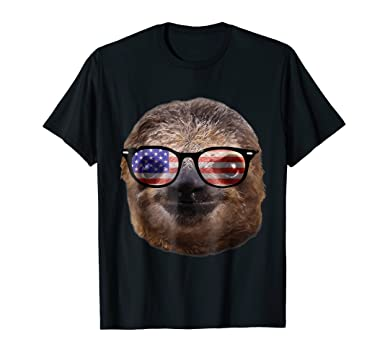 amazon com usa america sloth patriotic sunglasses funny t shirt