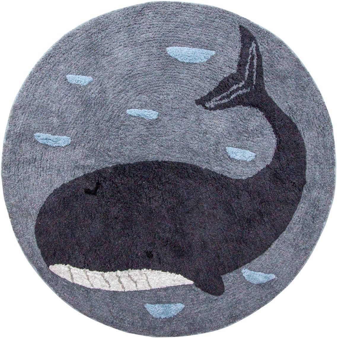 D 120 cm Baumwolle Marion der Wal blau Kinderzimmer-Teppich Sebra