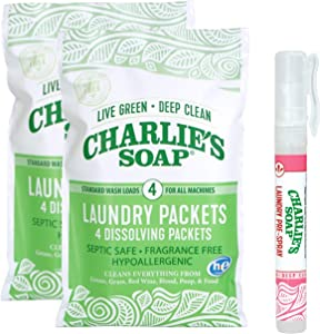 Charlie's Soap Travel Kit - 8 Individual Powder Packets with Laundry Pre-Spray
