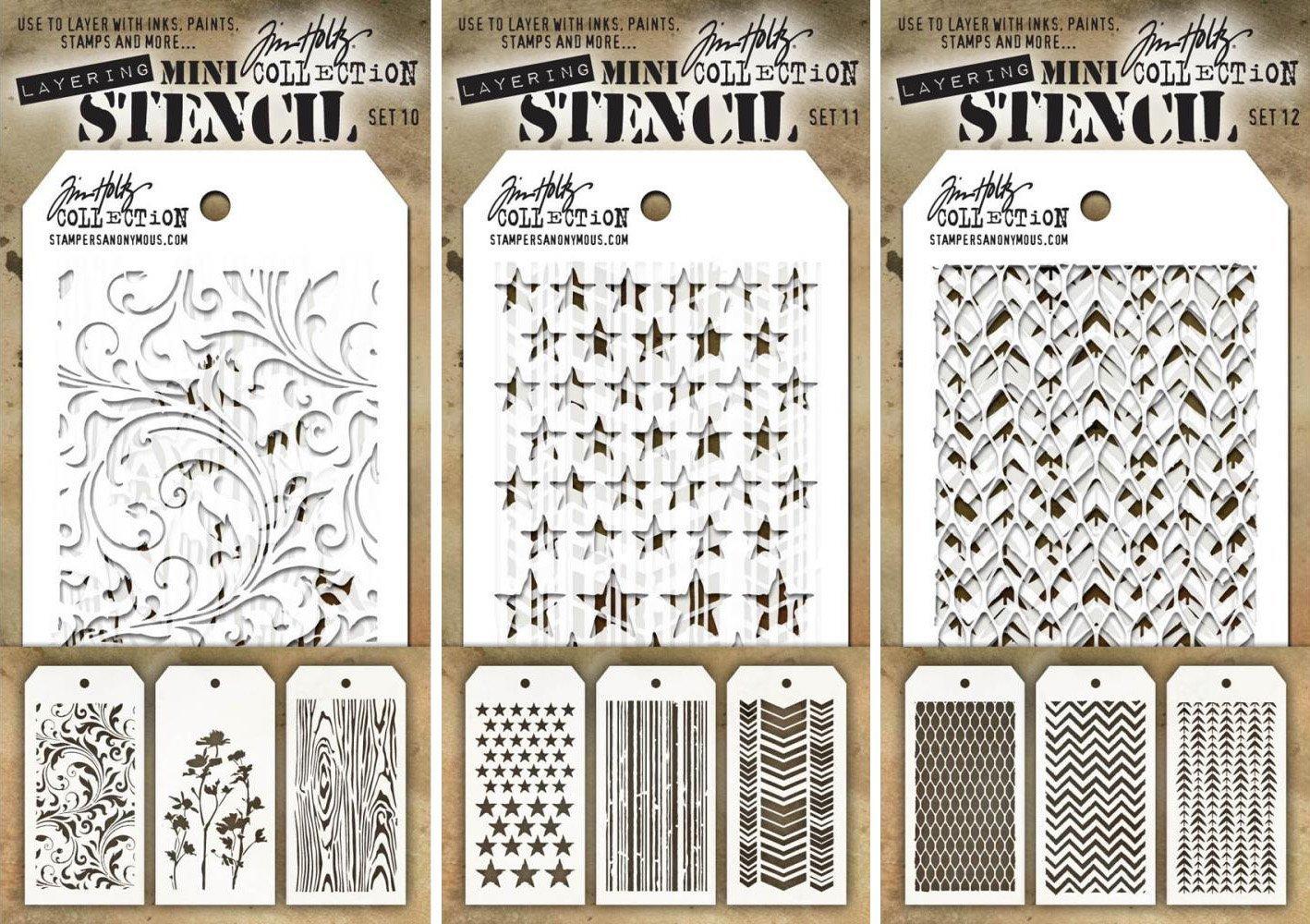 Tim Holtz - Nine Mini Layering Stencils - Flourish, Wildflower, Woodgrain, Stars, Stripes, Chevron, Mesh, Zigzag and Tracks - aka sets 10, 11 & 12