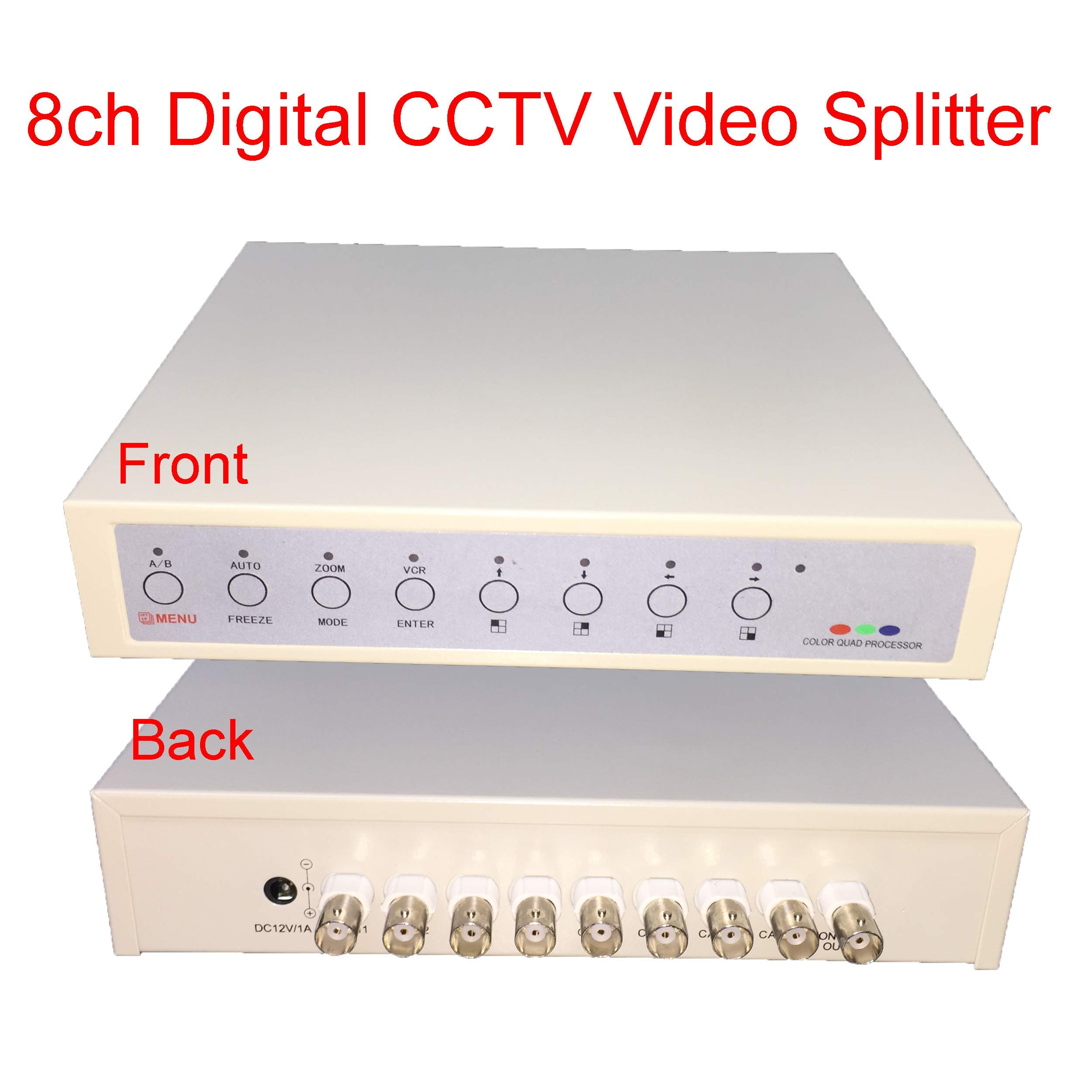 AES 8Ch CCTV Analog Camera System BNC Video Splitter to TV 8 Port Multiplexer 12V Power Quad Processor