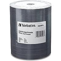 Verbatim DVD-R 4.7GB 16X DataLifePlus White Inkjet Printable Surface, Hub Printable - 100pk Tape Wrap