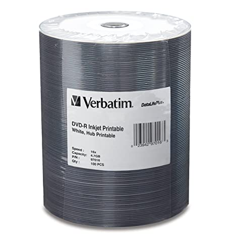 graphic regarding Ink Jet Printable Dvd titled Verbatim DVD-R 4.7GB 16X DataLifePlus White Inkjet Printable Show up, Hub Printable - 100pk Tape Wrap