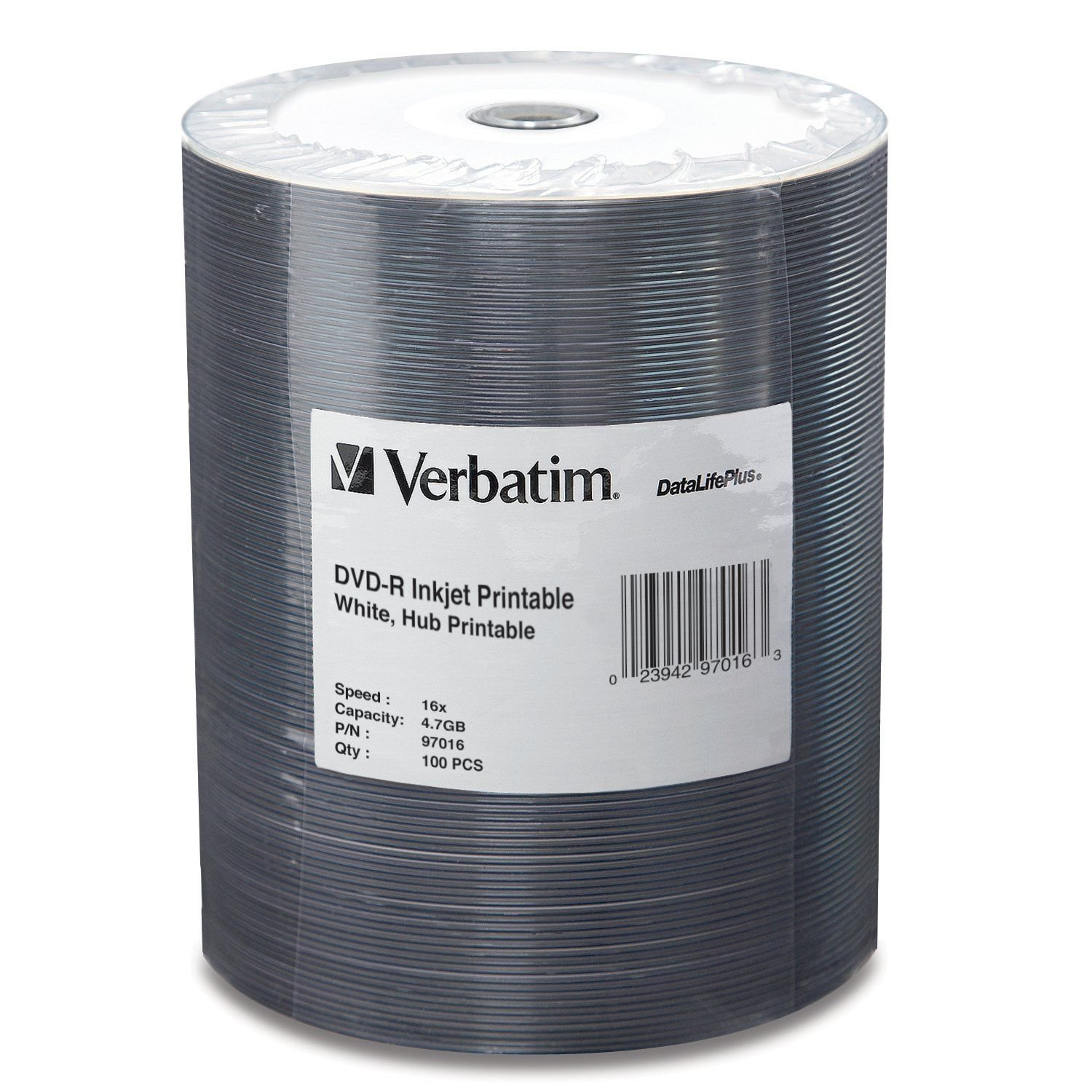 Verbatim DVD-R 4.7GB 16X DataLifePlus White Inkjet Printable Surface, Hub Printable - 100pk Tape Wrap