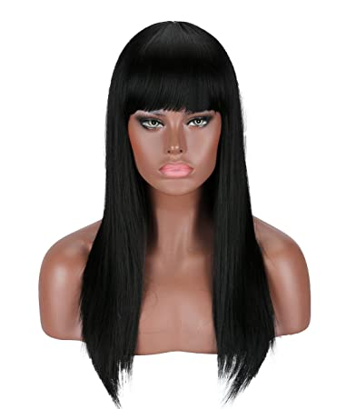 Kalyss Black Wig Approx 22 inches Full Long Straight Hair Wig for Women  Heat Resistant Yaki 9fb8be329f