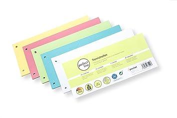 perfect line 100 tiras separadoras de papel, separadores de registros en 5 colores, 160g/m², organización perfecta de archivadores para oficina y casa: ...