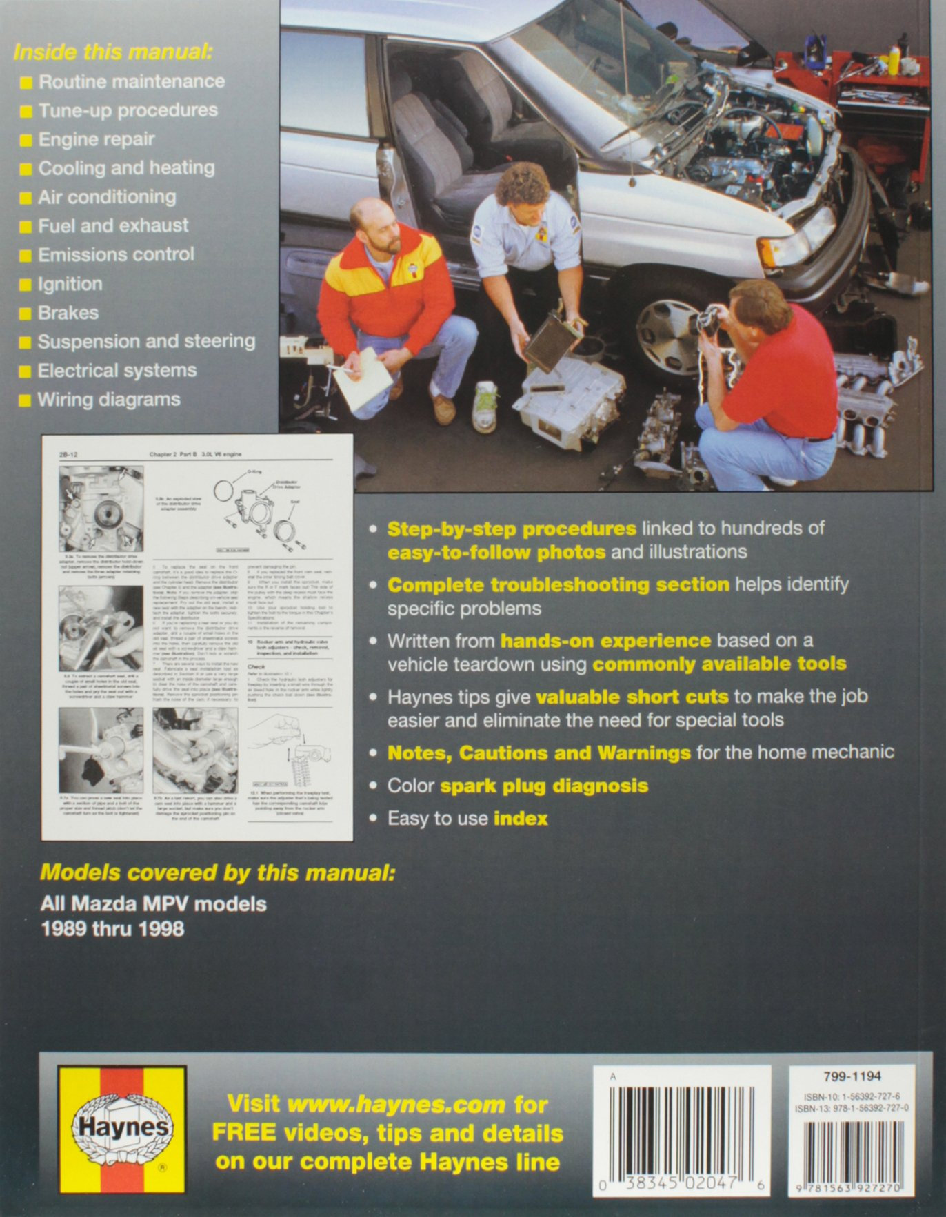 Mazda MPV 1989-1998 (Haynes Service & Repair Manual): Editors Haynes:  9781563927270: Amazon.com: Books