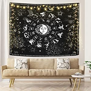 Sun Moon Tapestry Wall Hanging Tapestries Curtain Black and White with Stars Psychedelic Tapestry Home Decor for Bedroom Living Room Dorm (60