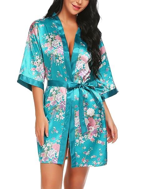 Aimado Floral Satin 3/4 Sleeve Robe Womens Kimono Belted Bathrobes Sleepwear(Blue, XL) at Amazon Womens Clothing store: