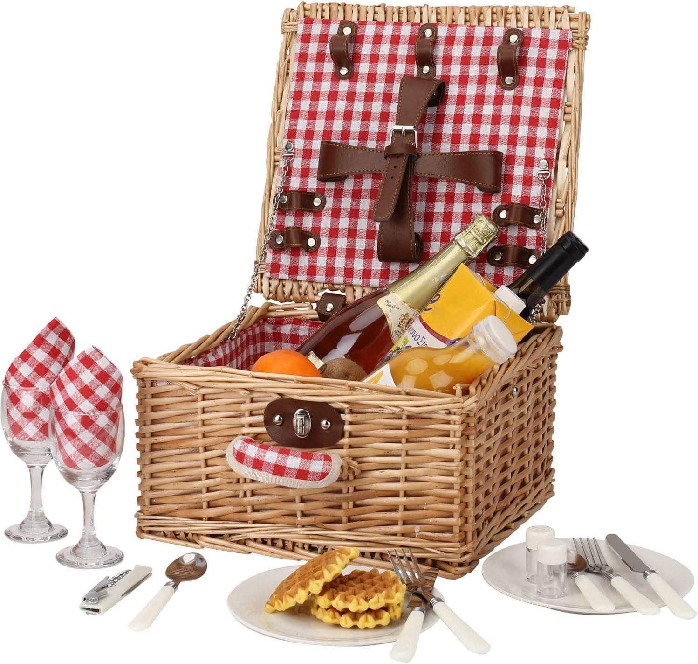 perfektes Hochzeits- langlebiges Wicker-Picknickkorb-Set roter Scheck Picknickkorb f/ür 2 Personen Jubil/äums- oder Geburtstagsgeschenk Willow-Picknickkorb-Zubeh/örteller und -utensilien