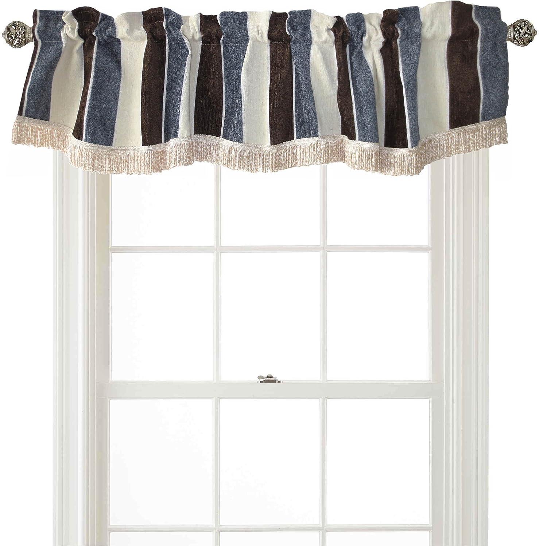 Violet Linen Decorative Deluxe Chenille 60 x 15 Window Valance Brown Striped Design