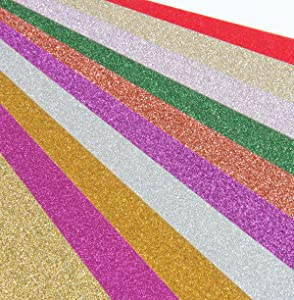 SBYURE Glitter Cardstock Paper,40 Sheets Sparkle Shinny Craft Paper Premium A4 Glitter Paper Multi Color Rainbow Glitter Cardstock for DIY Party Decor Scrapbook,10 Colors 250gms One Sided