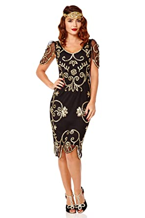 Rosemary Vintage Inspired Flapper Dress Black Gold (US2 EU34)