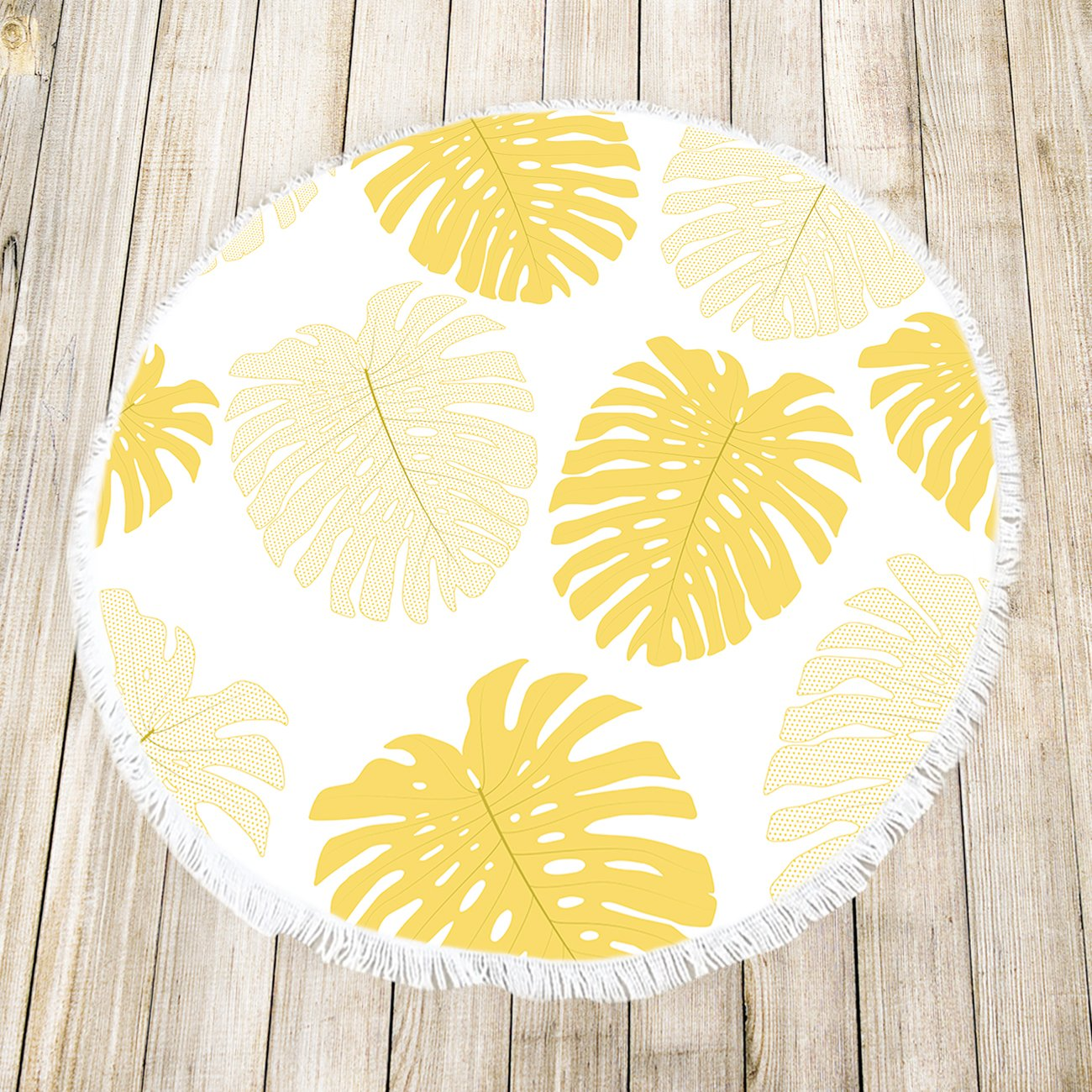 Amazon.com: Round Beach Towels Yellow Tropical Plants Fringed Circle Thick Gypsy Picnic Carpet Yoga Mat: Home & Kitchen