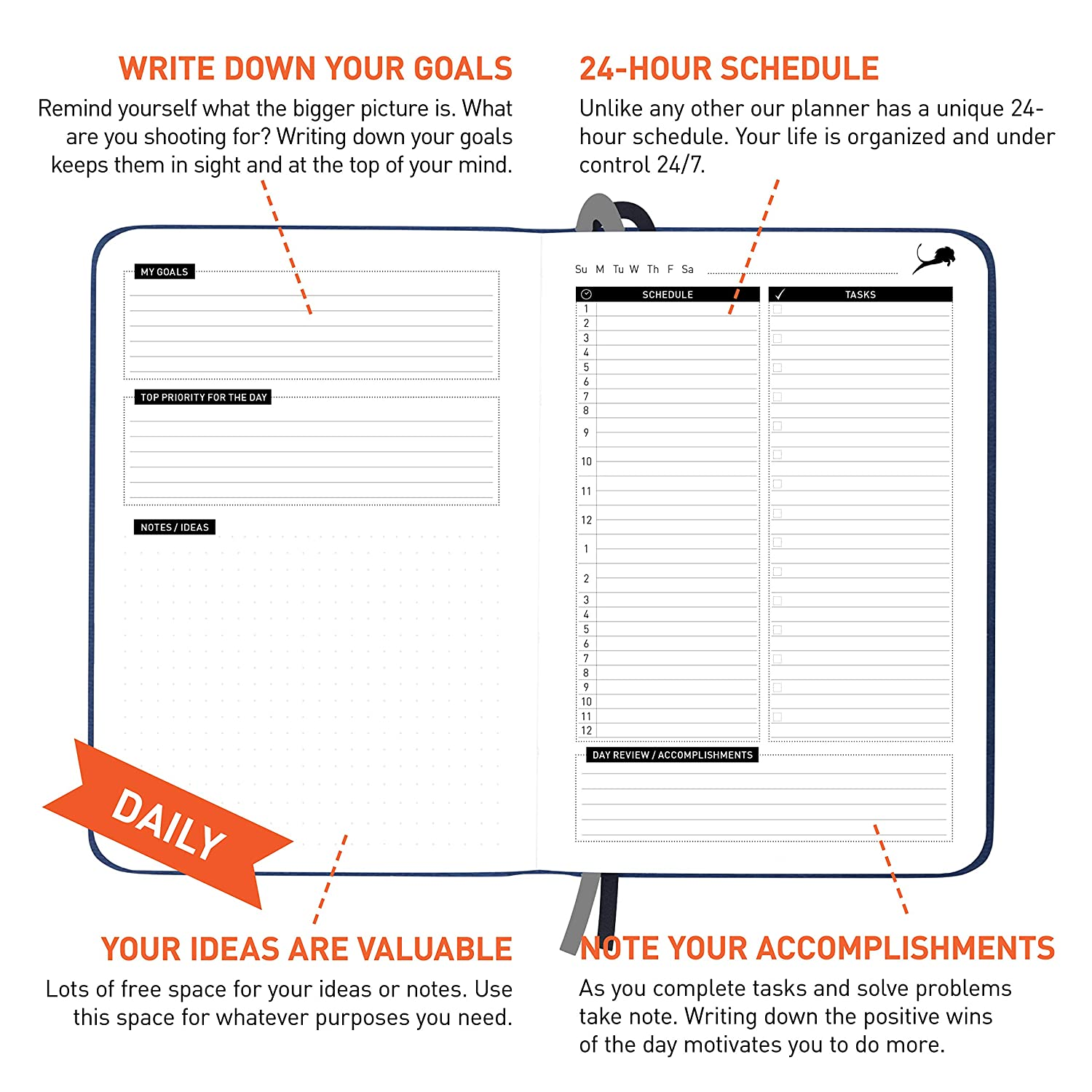 amazon com daily planner for productivity and happiness best day