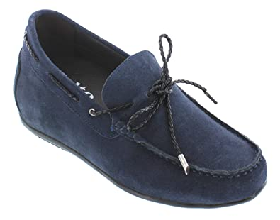 61b29c57e71 CALTO Men s Invisible Height Increasing Elevator Shoes - Navy Blue Suede  Leather Mac-Toe Slip