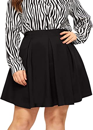 Plus Size Ladies Printed Pattern Womens Flared Skater Style Knee Length Skirt