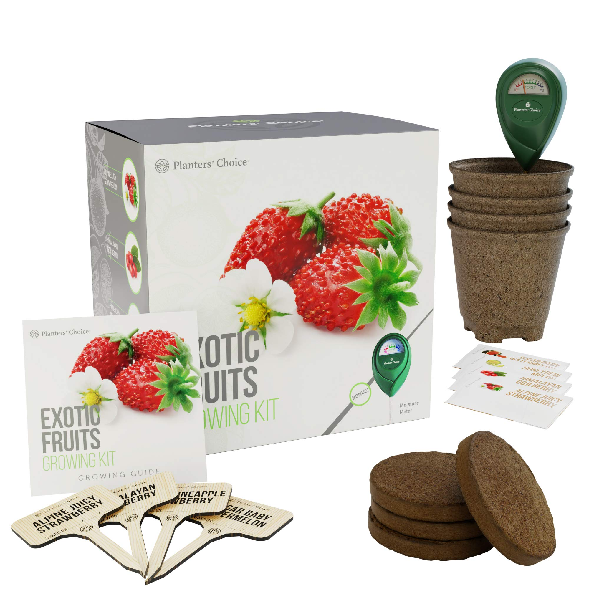 Planters' Choice Exotic Fruits Growing Kit - Everything Included to Easily Grow 4 Unique Fruits - Strawberries, Goji Berries, Honeydew, Watermelon + Moisture Meter by Planters' Choice (Image #5)