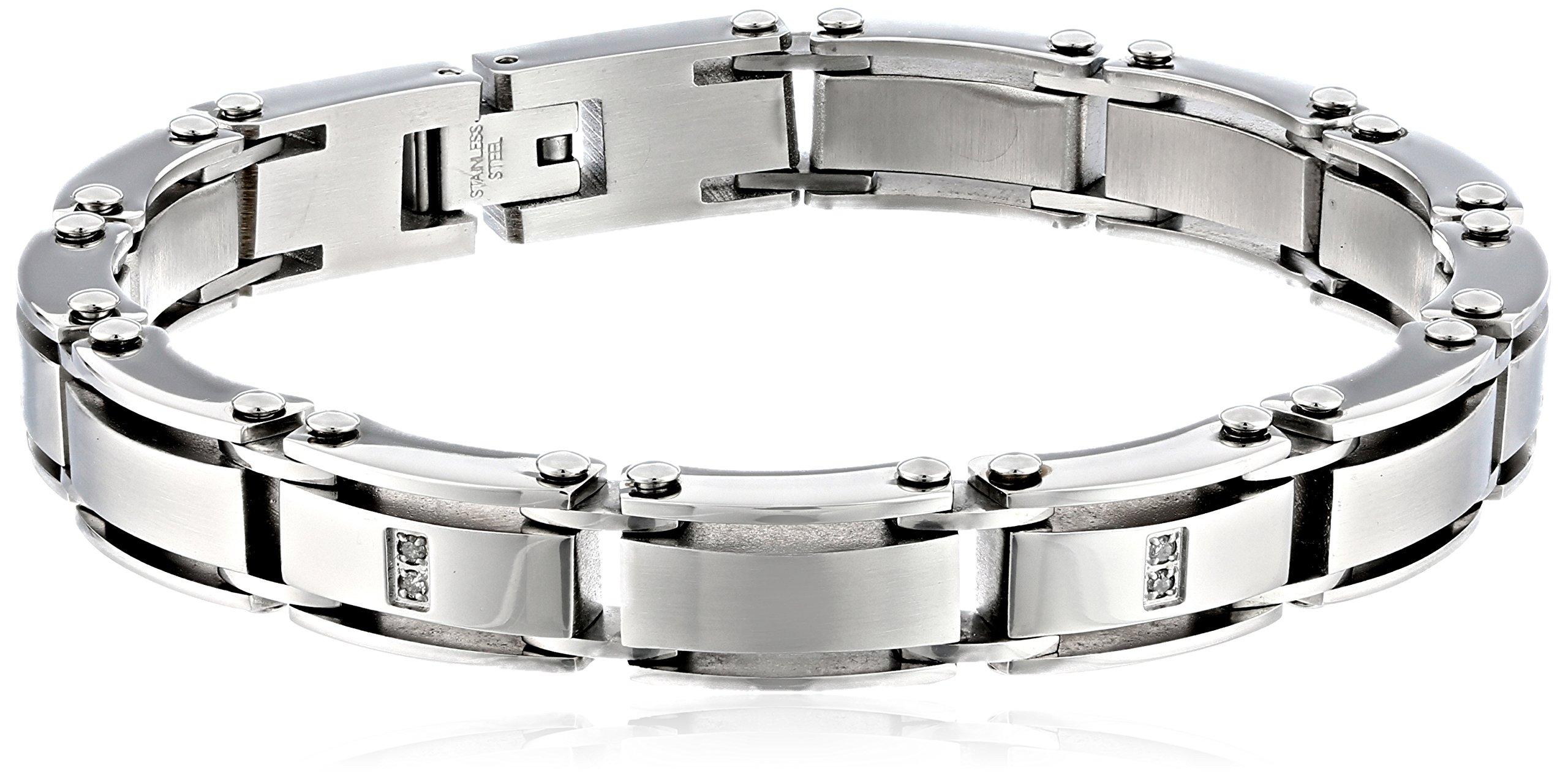 Cold Steel Men's Stainless Steel White Diamond Bracelet