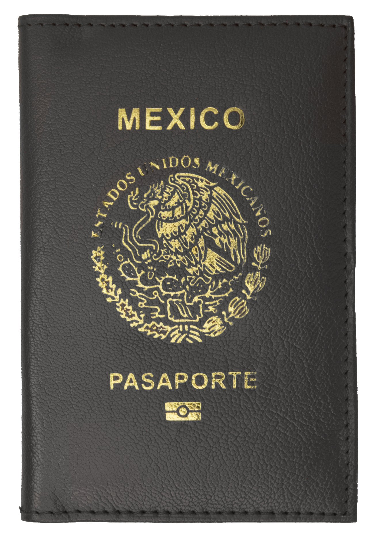 Mexico Passport Cover Genuine Leather Travel Wallet with Emblem Pasaporte (Black)