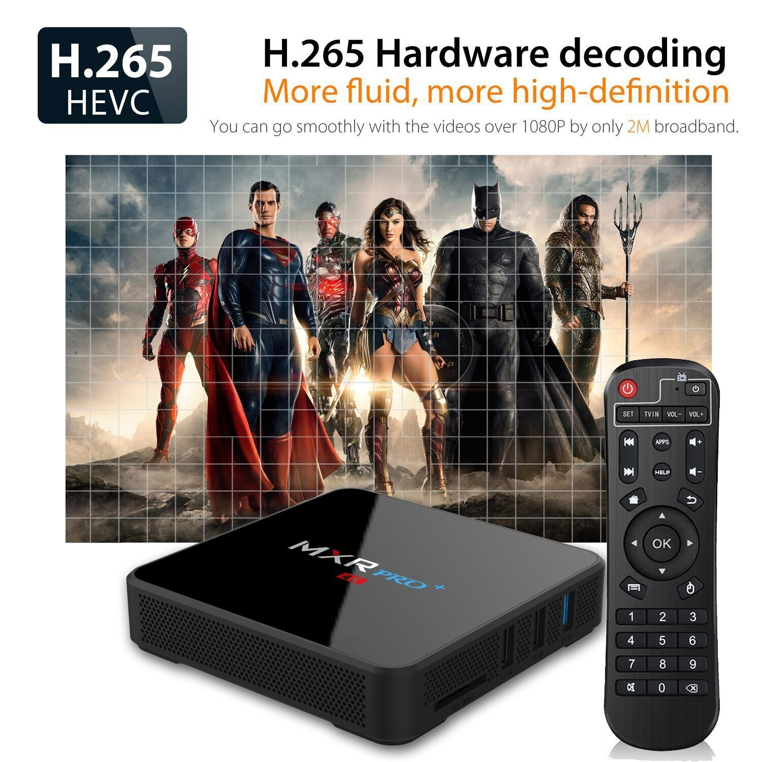 Android TV Box, MXR PRO Plus Android 7.1 TV Box with RK3328 Quad Core 4GB 32GB Smart Box Support 4K 3D H.265 Ultra HD 2.4G Wifi(2018 Update) by Mrtech