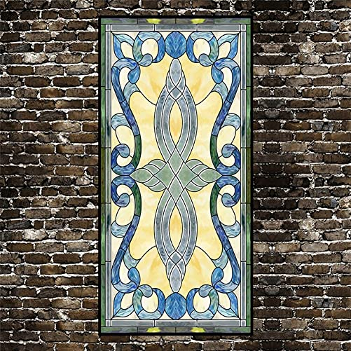XXRBB Stained Glass Window Film Frosted Non-Adhesive Decorative Glass Sticker Privacy Static Cling, Bathroom Home Living Room,9,60x120cm 24x47inch
