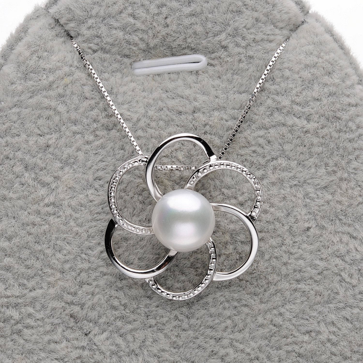 CS-DB Pendants Flower-Shaped White Pearls Silver Necklaces