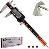 MeasuGator SAFARIUM Digital Caliper, 3 Addons, Verifiable Accuracy, Auto Off, 6 Inch/150 mm, SAE/Metric, Premium Quality Stainless Steel, Black White Green Orange, 3 Extra Batteries, Feeler Gauge