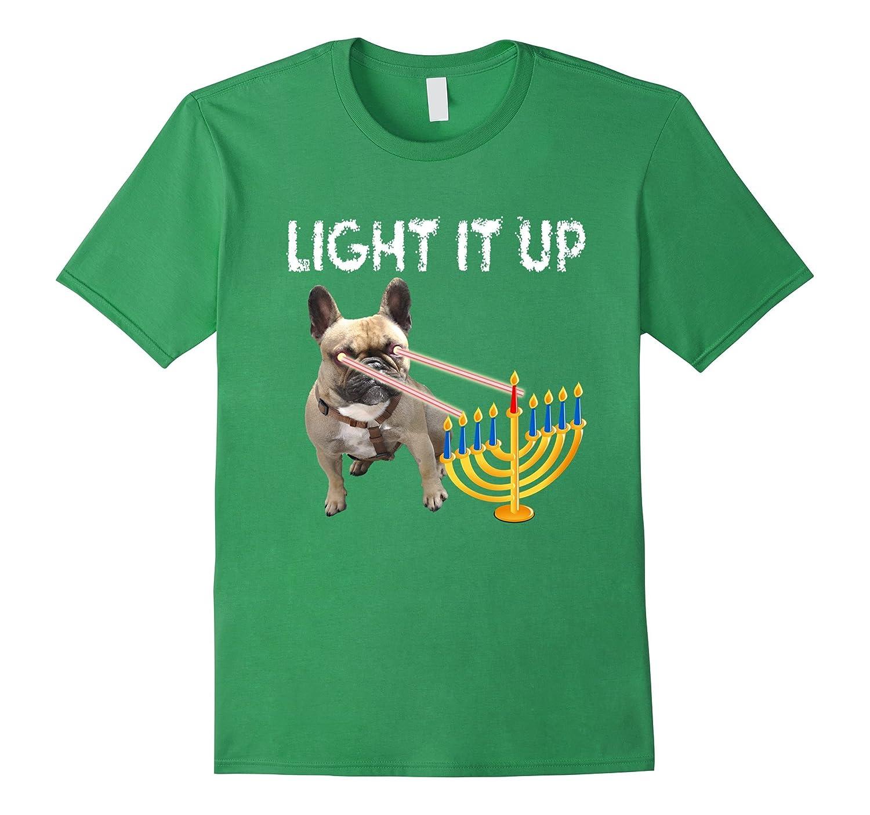 French Bulldog Hanukkah Menorah Funny Short Sleeves Shirt-ANZ