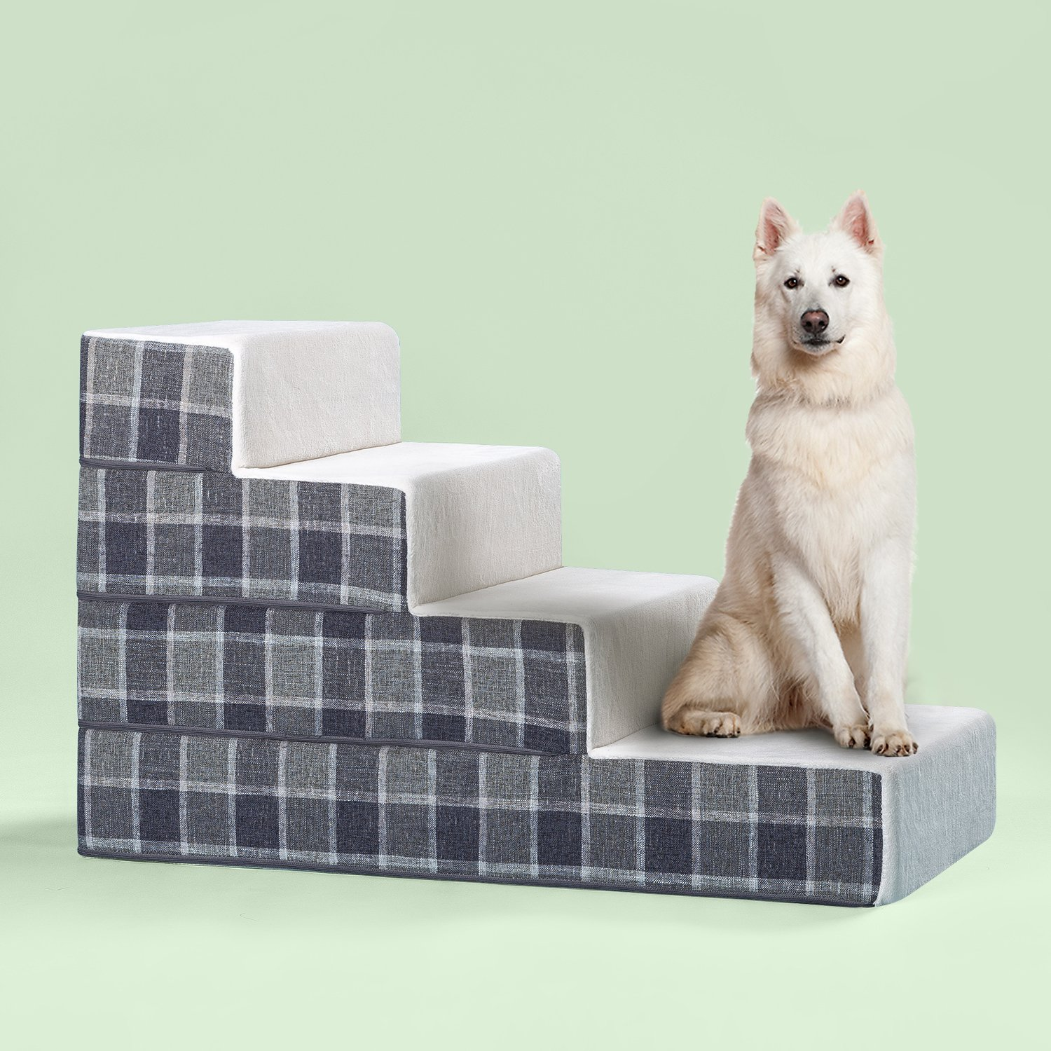 Zinus Cozy Pet Stairs/Pet Ramp/Pet Ladder/Grey Checked, Large by Zinus