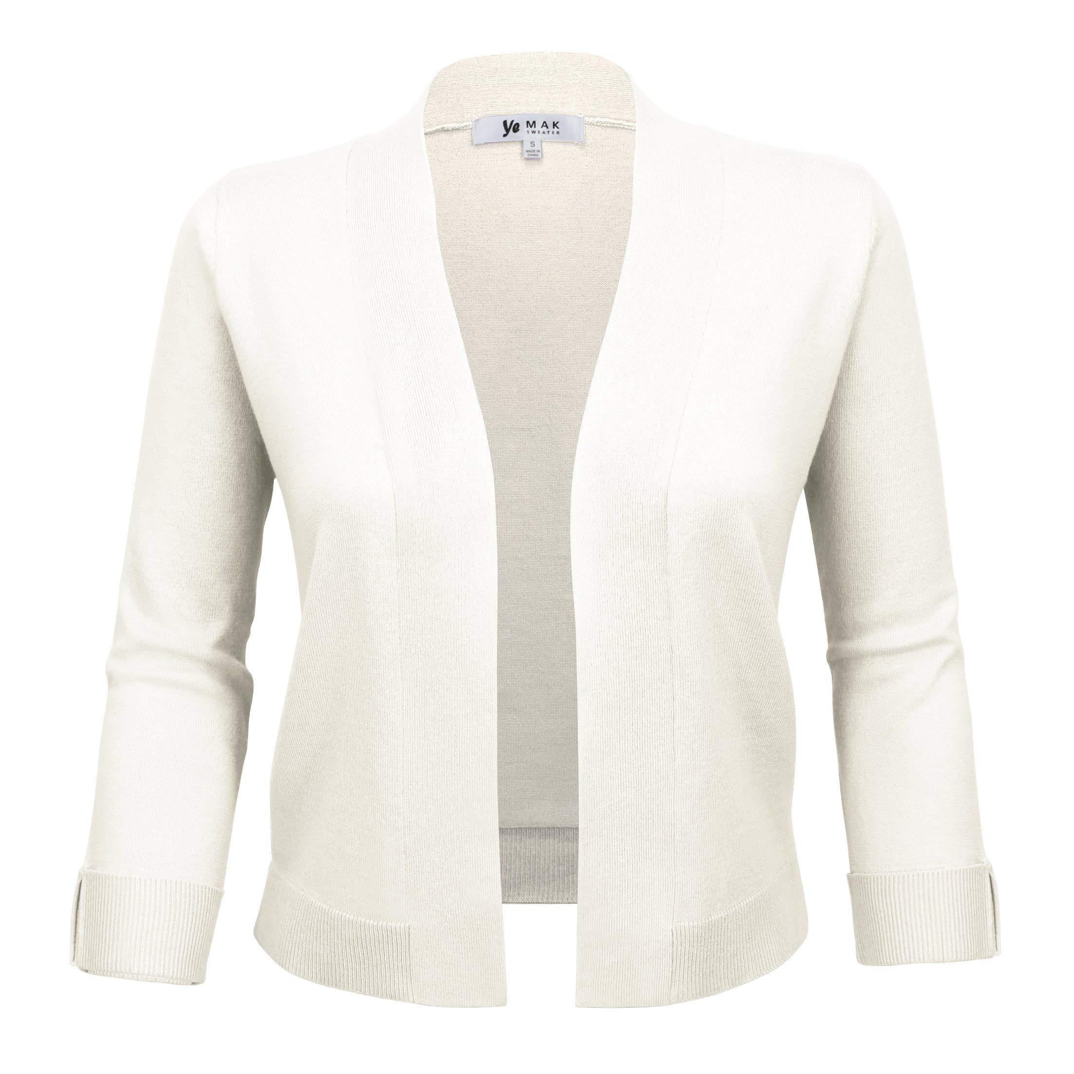 YEMAK Women's 3/4 Sleeve Open Front Sweater Cardigan Cropped Bolero Style MK3558-IVR-S