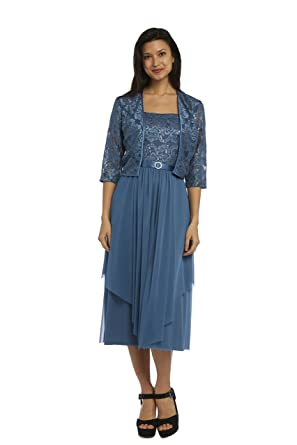 88422bc3185 RM Richards Sparkle Lace Jacket Dress Formal Gown Blue at Amazon ...