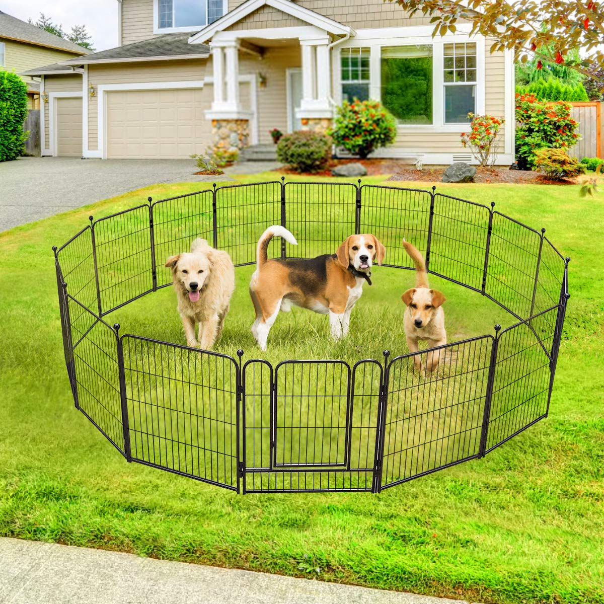 TOOCA Dog Pen RV Dog Fence Playpens for Dogs, 32H x 27L inches, 16 Panels, Heavy Duty, Metal, Outdoor Indoor, Protect Design Poles, Foldable Barrier with Door, Black