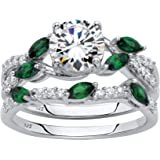 Platinum over Sterling Silver Round Cubic Zirconia with Marquise Green Emerald Twisted Vine Bridal Ring Set