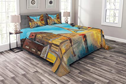 Amazon Com Lunarable Eiffel Tower Bedspread Set King Size Couple