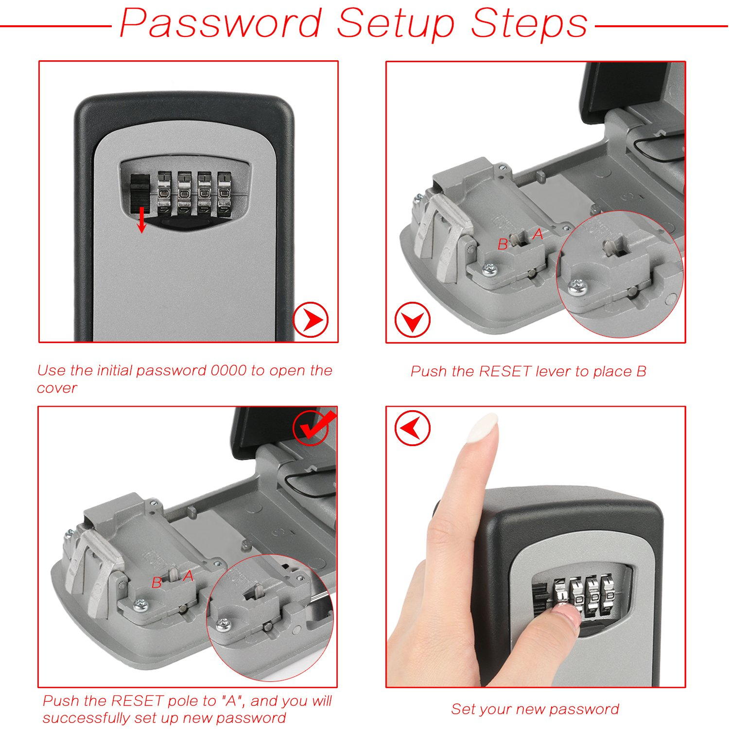 Key Lock Box OKPOW Outdoor Heavy Duty Wall Mounted Combination Key Safe Large Storage Lock Box with Strong 4 Digit Lock for Home Garage School Office Spare Keys by OKPOW (Image #3)