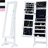 Cloud Mountain Mirrored Jewelry Cabinet Free Standing Lockable Jewelry Armoire Full Length Floor Tilting Jewelry Organizer with Mirror, 4 Angle Adjustable Organizer Storage, White