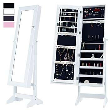 Amazoncom Cloud Mountain Mirrored Jewelry Cabinet Free Standing