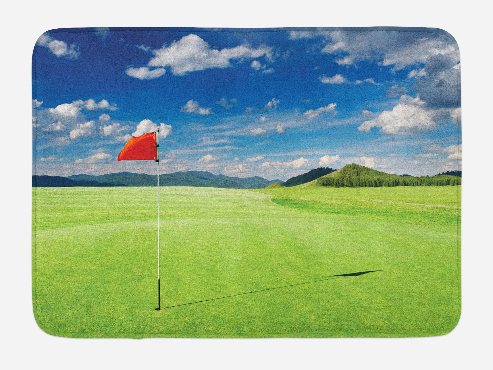 Lunarable Sports Bath Mat, Golf Field with Flag in the Hole Clouds Sky Summertime Golfing Landscape, Plush Bathroom Decor Mat with Non Slip Backing, 29.5 W X 17.5 W Inches, Blue Red Lime Green