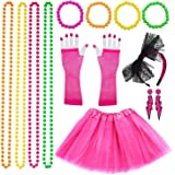 VSTON 80s Fancy Dress Costumes for Women Girls Adults, 80s Women Dresses Party Accessories Neon with Tutu Skirts Lightning Earings Headband Fishnet Gloves Necklace Beads 1980s Party Costume Set