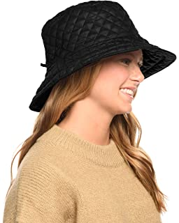 252236d0 ANGELA & WILLIAM Foldable Water Repellent Quilted Rain Hat w/Adjustable  Drawstring, Bucket Cap