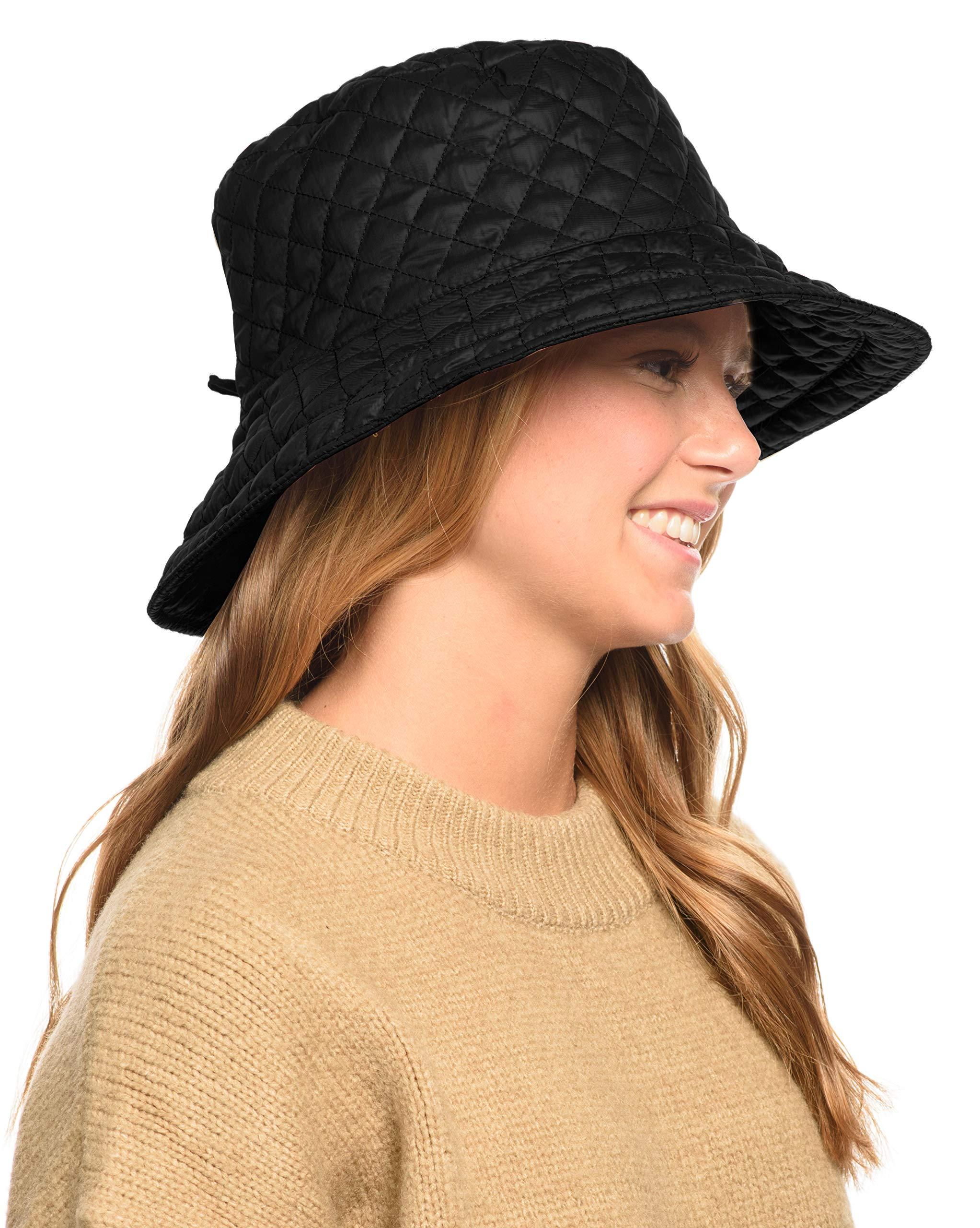 ANGELA & WILLIAM Foldable Water Repellent Quilted Rain Hat w/Adjustable Drawstring, Bucket Cap (Black)