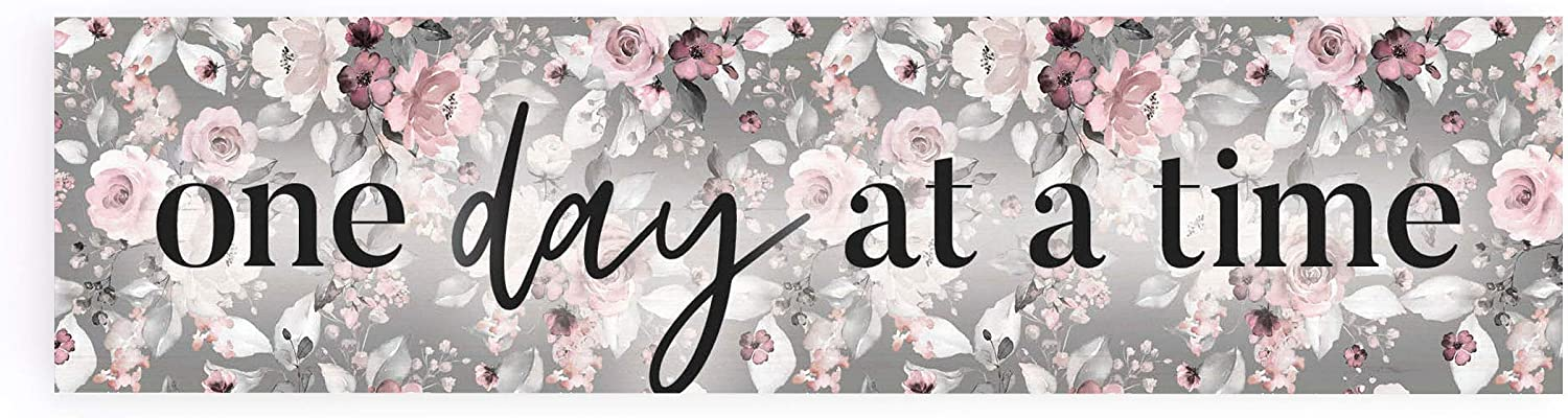 P. Graham Dunn One Day at A Time Grey Floral 6 x 1.5 Pine Wood Decorative Tabletop Sign Plaque