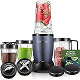 AICOOK Batidora de Vaso, Batidora para Smoothie, 4 Botellas Tritan sin BPA, con 2 Bases de Cuchilla de Acero Inoxidable, 900W, Gris