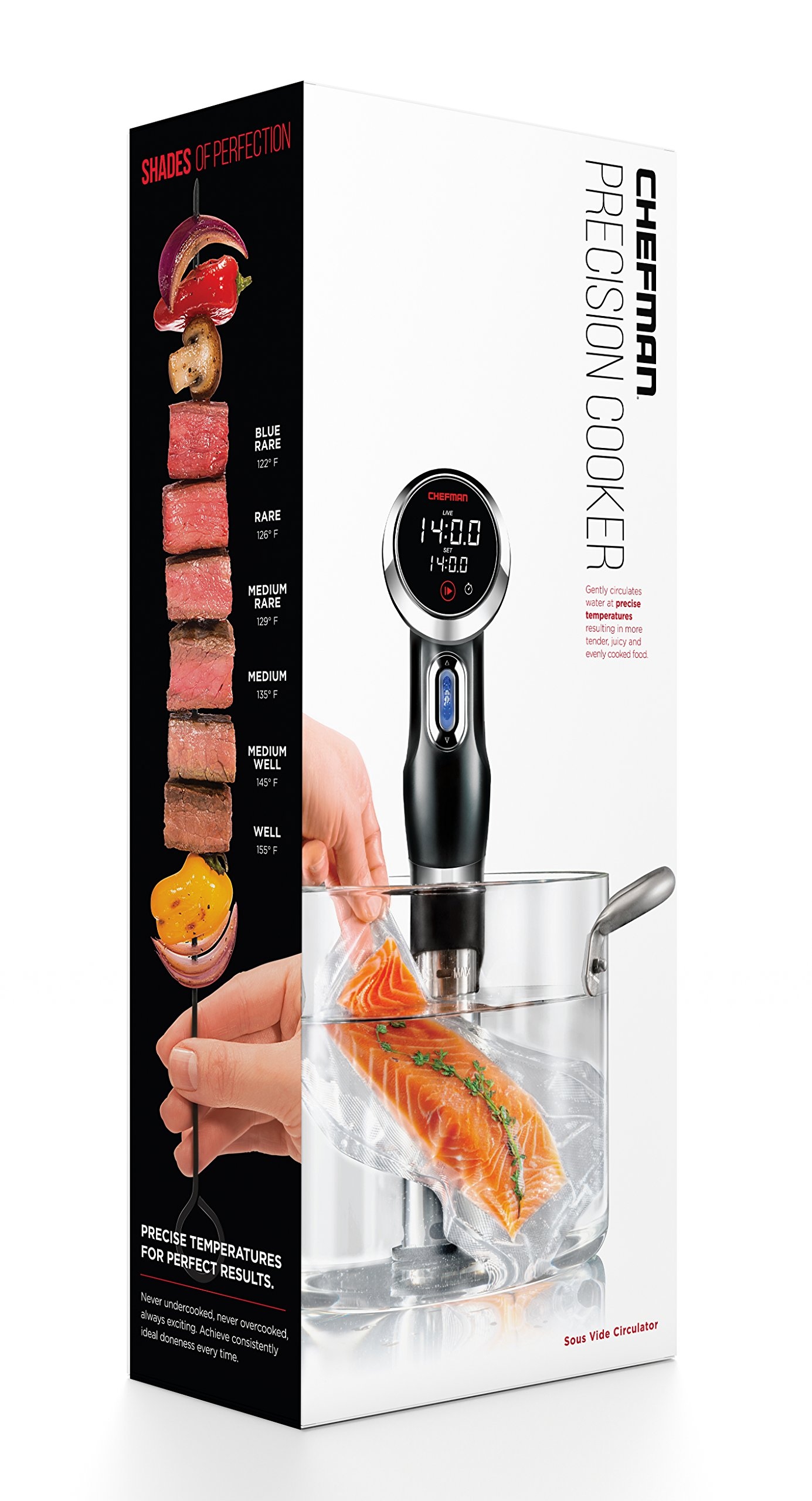 Chefman Sous Vide Immersion Circulator w/ Precise Temperature, Programmable Digital Touch Screen Display and Easy to Use Controls, Black by Chefman